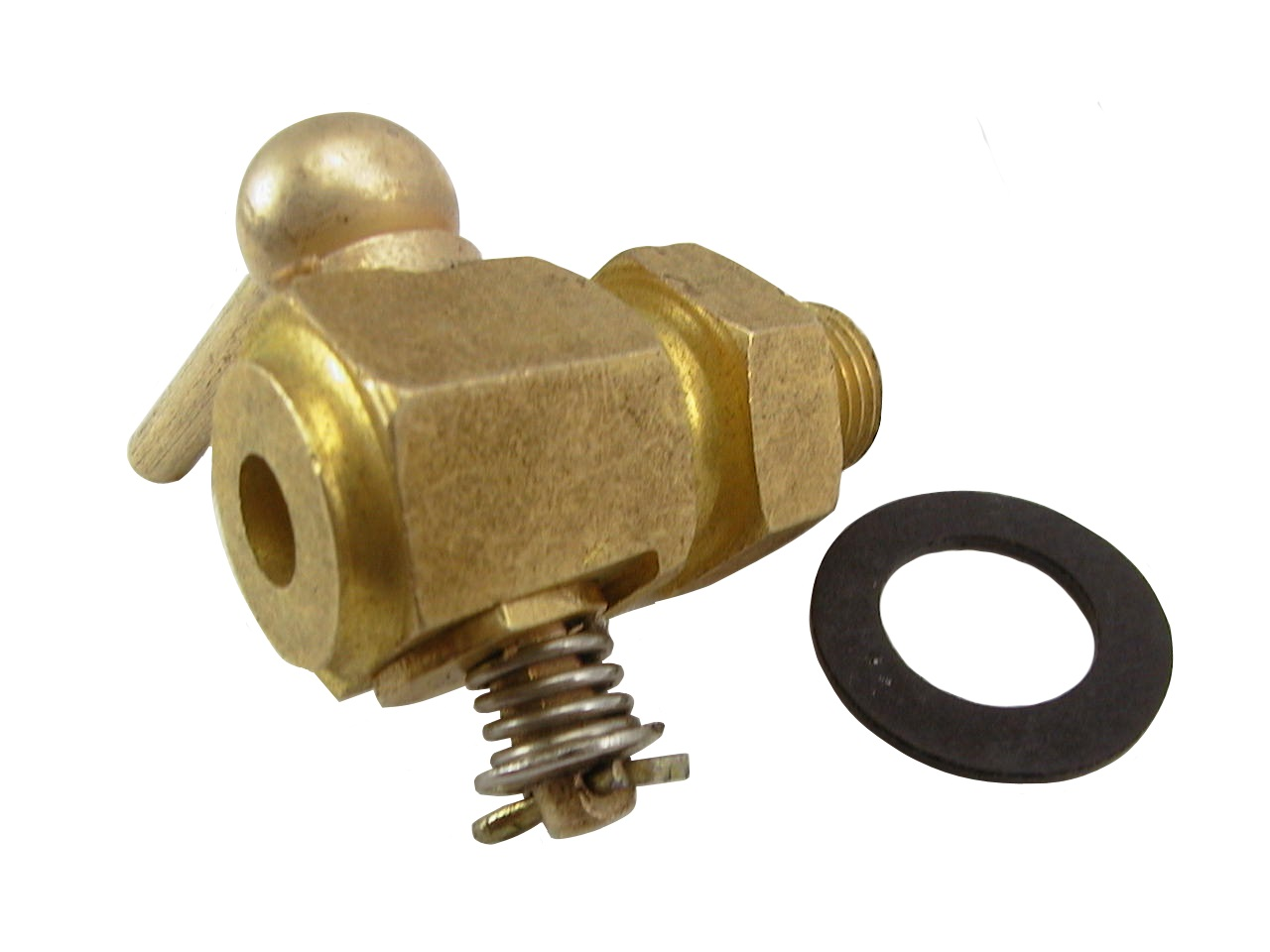 Te brass drain tap including washer
